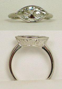 Gleim the Jeweler: Marquise Diamond in Platinum Setting Marquis Engagement Rings, Engagement Ring Settings, Marquise Ring, Unique Diamond Rings, Diamond Jewelry, Minions, Bling Jewelry, Jewellery, Pandora Jewelry