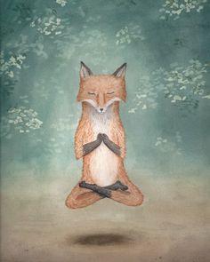Meditating Fox yoga lotus pose woodland creature watercolor art print - 8.5x11 by KindredCreatures on Etsy https://www.etsy.com/listing/220685204/meditating-fox-yoga-lotus-pose-woodland