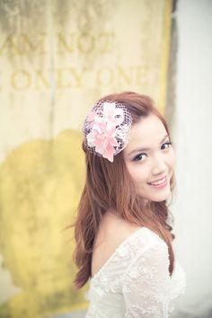Bridal headpiece  Pink velvet hydrangea on white by BeingOfLove