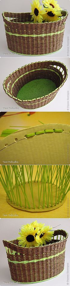 (+1) - Корзинка, плетеная из газет | СВОИМИ РУКАМИ Newspaper Basket, Newspaper Crafts, Willow Weaving, Basket Weaving, Basket Crafts, Magazine Crafts, Paper Weaving, Art N Craft, Diy Projects To Try