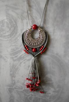 macrame pendant/coral gemstones/vintage alloy charm/boho necklace/coral tassel necklace/grey and red by EnjoyITcrafts on Etsy