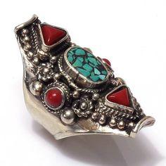 Tibetan Silver Handmade Nepalese Coral Turquoise Awesome Nepali Ring #Handmade