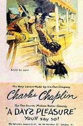 A Day's Pleasure (1919) is Charlie Chaplin's fourth film for First National Films. It was created at the Chaplin Studio. It was a quickly made two-reeler to help fill a gap while working on his first feature The Kid. It is about a day outing with his wife and the kids and things don't go smoothly. Edna Purviance plays Chaplin's wife and Jackie Coogan one of the kids. The first scene shows the Chaplin Studio corner office in the background while Chaplin tries to get his car started.