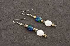 Azurite Malachite and Pearl Earrings with Sterling Silver and Gold Filled beads by BaconsKeepers on Etsy