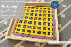 Pattern/ Muster aus farbigen Streifen (gebeizte Holzspäne), Design Spiel für Kinder ab ca. 5 Jahren und darüber hinaus, Original Fröbel, im FRÖBELSHOP