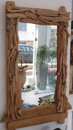 Driftwood Mirror, Driftwood Projects, Wood Creations, Wooden Crafts, Unique Furniture, Woodworking, Rustic, House, Home Decor