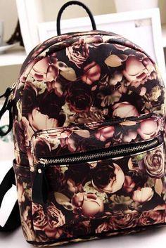 Designer Vintage Rose Oil Painting Backpack
