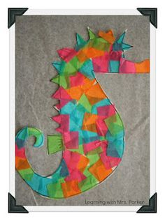 """Cute seahorse made with paper plate (or construction paper) and colored tissue paper """"tiles"""" Seahorse Crafts, Seahorse Art, Ocean Animal Crafts, Seahorses, Ocean Crafts, Mermaid Crafts, Fish Crafts, Classroom Crafts, Preschool Crafts"""