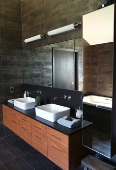 very masculine bathroom and love the tile on the wall http://cafelab.blogspot.it