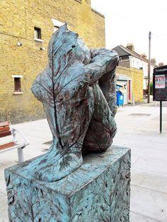 Beautiful leaf man statue on Grove Road E11.