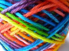 RAINBOW PUDDLES - hand dyed superwash wool