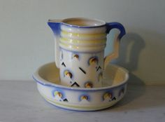 Austrian Art Deco - Spritzdekor - Very Large Pitcher and Bowl - Wash Basin - Wash Set - Art Deco Motifs -Perfect Condition - stamped MAAS
