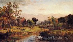 Jasper Francis Cropsey's oil painting Farm Along the River