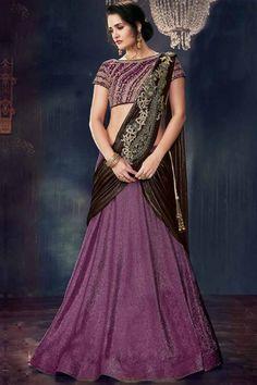 Latest Indian designer Wedding Wear Olive Green Color Lehenga Choli with Patched dupatta Lehenga Choli, Lehenga Style Saree, Sari, Bridal Lehenga, Brocade Lehenga, Sabyasachi, Anarkali, Indian Wedding Wear, Purple Wedding