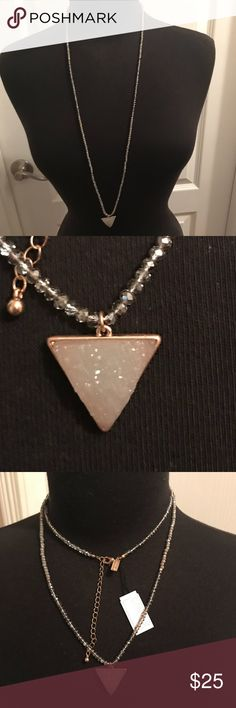 CANVAS Drusy Pendant Necklace New beautiful necklace by CANVAS.  Gold hardware, metallic beads with triangular drusy pendant.  Perfect for dressing up or cute and casual Canvas Jewelry Necklaces