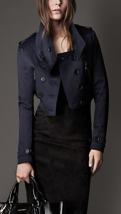 Burberry London Cropped Satin Blend Flying Jacket