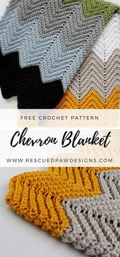Free Pattern - Crochet Chevron Blanket - Click to make now or Pin and Save for Later!