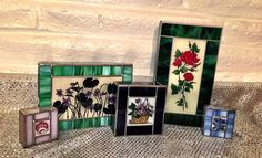 5 Reverse Hand Painted Flowers Stained Glass Sullo Trinket Jewelry Boxes  | eBay
