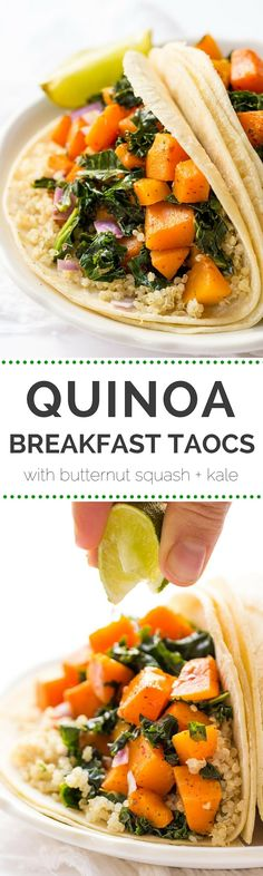 VEGAN! Quinoa Breakfast Tacos with a savory butternut squash + kale filling - simple, flavorful and detox-friendly!