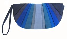 Indigo Monochromatic Pleated Silk Clutch Purse, via Etsy