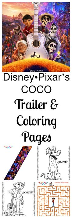 Excited for the new Disney Pixar COCO movie coming in November 2017? So are we. Here are some free COCO coloring pages and activity sheets. #PixarCoco https://thespringmount6pack.com/disney%e2%80%a2pixars-coco/ #entertainment #Disney