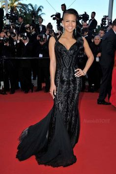 Cassie wearing Roberto Cavalli in Cannes