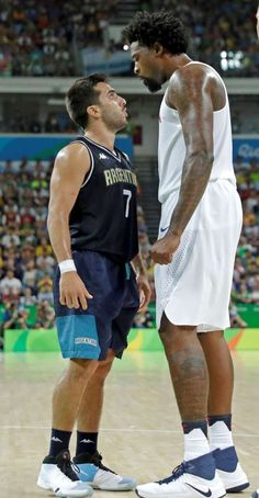 You talking to me?       Argentina's Facundo Campazzo argues with United States' DeAndre Jordan, right, during a quarterfinal round basketball game on Aug. 17.