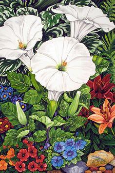Midnight Moonflower   Garden Paintings and Floral Paintings. Kendahl Jan Jubb