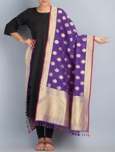 Purple-Golden Handwoven Silk Dupatta by Shivangi Kasliwaal