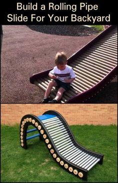 Build a Rolling Pipe Slide For Your Backyard ideen hinterhof Kids Outdoor Play, Outdoor Play Spaces, Kids Play Area, Backyard For Kids, Backyard Projects, Backyard Patio, Backyard Landscaping, Diy For Kids, Backyard Games