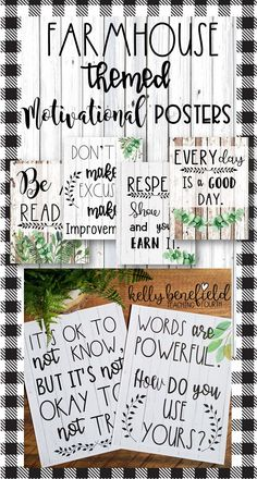 Motivational Posters: Farmhouse Themed l Growth Mindset Your classroom will shine with these beautiful farmhouse posters. Not only are they beautiful, these posters will help you to motivate your students to be their best this year. 5th Grade Classroom, Middle School Classroom, Classroom Walls, Classroom Door, Classroom Design, Kindergarten Classroom, Future Classroom, Classroom Organization, Classroom Management