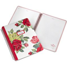 Cath Kidston Royal Rose Hardback Notebook (£8) ❤ liked on Polyvore featuring home, home decor, stationery and red