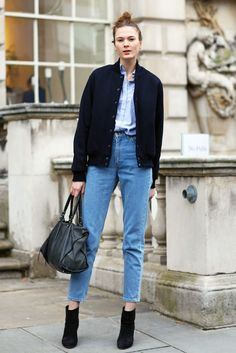 Irina Kulikova, High Waisted Denim   Street Fashion   Street Peeper   Global Street Fashion and Street Style