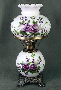 Vintage Student Desk or Table Lamp with Hand Painted Lavender Roses. Vintage Student Desk or Table Lamp with Hand Painted Lavender Roses. Antique Table Lamps, Antique Oil Lamps, Old Lamps, Vintage Lamps, Vintage Hurricane Lamps, Vintage Decor, Vintage Industrial Lighting, Antique Lighting, Industrial Lamps