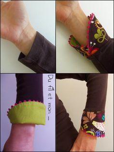 Du fil et mon...: Tuto : Customisation de manche / Bracelet de manche                                                                                                                                                                                 Plus