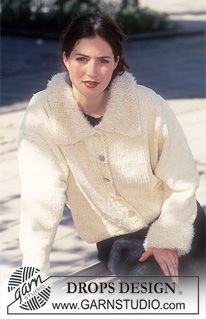 DROPS Cardigan in Cotton Chenille or Tynn Chenille with collar and cuffs in Pelliza and Viscose. ~ DROPS Design