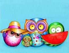 """Summer Beach Fun Owl Family"" by Annya Kai | Redbubble"