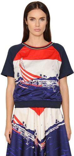 Printed Satin & Jersey Sweatshirt