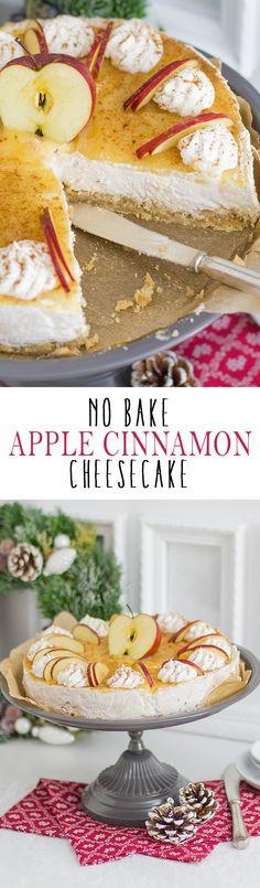 No Bake Apple Cinnamon Cheesecake with cream cheese base and applesauce | Apfel Zimt Cheesecake ohne backen mit einer Frischkäsecreme und Apfelmus
