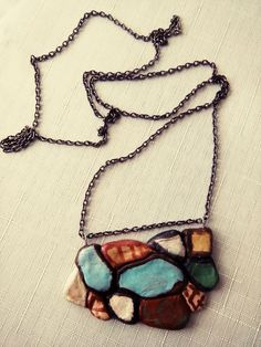 stone,necklace, hand made, oil paint