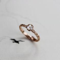 rose cut diamond, 18ct rose gold, laurel leaf carved ring | www.rustjewellery.com