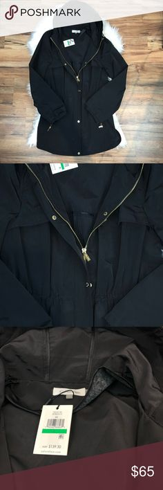 Calvin Klein Black Raincoat Gorgeous black Calvin Klein raincoat with gold zipper and buttons. Another must have! #1240 #1241 Calvin Klein Jackets & Coats Trench Coats