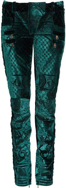Balmain ~ Cropped Velvet Brocade Skinny Pants