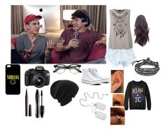 """Filming with Kian and Jc"" by lifeasgege ❤ liked on Polyvore featuring Levi's, Marc Jacobs, Lancôme, Coal, Ally Fashion, AeraVida, Converse and Eos"