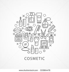 Cosmetics illustration with icons and signs in linear style
