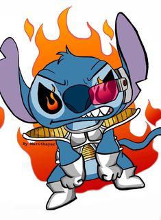 Dbz Vegeta, Anime Crossover, Lilo And Stitch, Disney Love, Painted Rocks, Dragon Ball, Disney Characters, Fictional Characters, Fandom