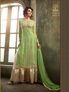 Green Mohini Chiffon Suit with Palazzo   Buy Now- http://www.glamzon.com/shop/salwar-kameez/green-mohini-chiffon-suit-palazzo/
