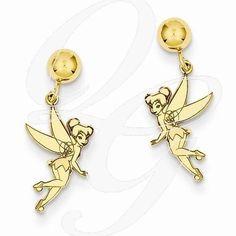 Gold-Plated SS Disney Tinker Bell Dangle Post Earrings