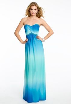 Beaded ruched bodice strapless sweetheart ombre chiffon dress; back zip  • Strapless sweetheart neckline • Ruched empire waist with beading • Slim skirt with soft pleats • Open back and center zipper