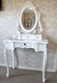 'Duchess' white dressing table with mirror French style roses floral desk $370